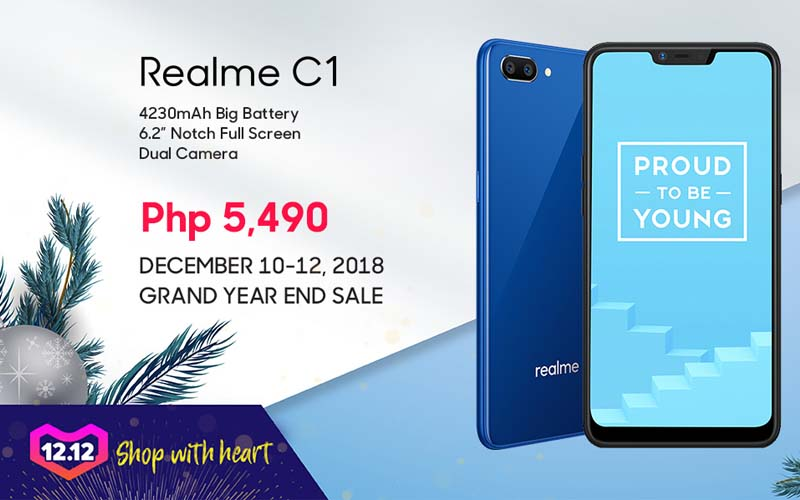 Dads, the Realme C1 is now on sale at Lazada 12.12 whole-day sale which includes a lot of activities